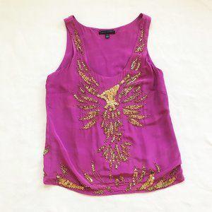 Sheri Bodell beaded purple gold tank silk fully lined M